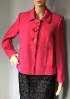 M&S Womens Tailored Short Jacket Lined Pockets U.K. Size 10 Hot Pink BNWOT