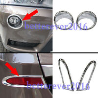 Chrome Front + Rear Fog Lamp Light Cover Trim Garnish fits BMW X3 F25 2011-2014