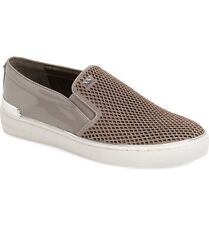 New Michael Kors Pearl Grey Kyle Perforated Slip-On Leather Sneakers Shoes 6.5 M