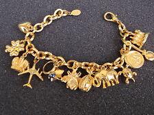 Iconic JOAN RIVERS Chunky Gold Tone Link Charm Bracelet Bee Heart Star Egg Plane