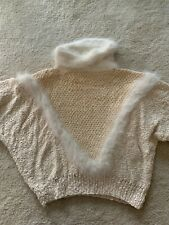 Hand knitted angora turtleneck cream color size S