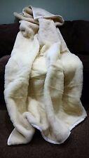 COUVERTURE 160x180cm laine blanche mérinos PUR chaud doux naturelle Couvre lit