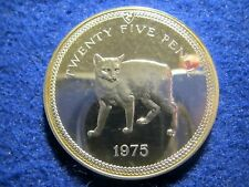 1975 Isle of Man Silver Proof 25 Pence/Crown - Manx Cat - One Year Type