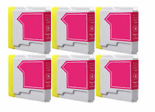 6 Magenta Compatible Ink Cartridges For Brother LC-970M NON-OEM