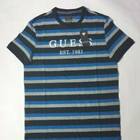 Guess Tshirt Grey Blue Black Striped Embroided Logo Mens UK Size Small Brand New