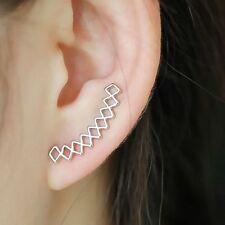Women Fashion Silver Geometirc Stud Earrings Ear Climbers Crawler Jewelry Gift