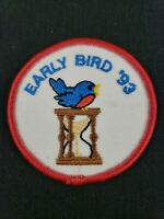 """Vintage 1993 Girl Scouts Early Bird '93 Patch 2.5"""" NOS Blue Bird Hourglass"""