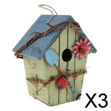 3X Land Cottages Holz Vogelhaus hängen Birdhouse Condo Garden Decor D
