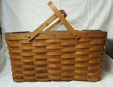 Vintage Wood Slat Top Picnic Basket Hinged Lid Country Home Decor