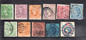 VICTORIA 1863-01 LAUREATES X 11 TO 5/- INC 3D LILAC + 8D ORANGE + 10D BROWN (D61
