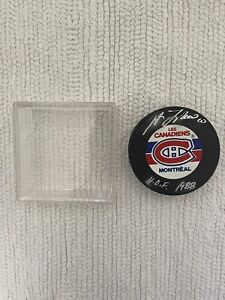Montreal Canadiens Guy LaFleur Silver Hand Signature NHL Hockey Puck W Case.