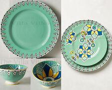 New Anthropologie Elka Bowls, Dinner & Side Plate 6Pc.Set ~Green Motif Sold Out!