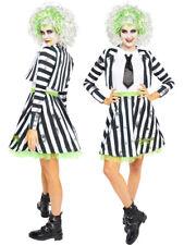 Adults Beetlejuice Fancy Dress Halloween Costume Ladies 80s Movie Film