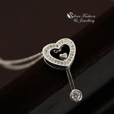 18K White Gold Plated Simulated Diamond Round Exquisite Heart & Key Necklace
