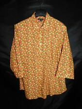 Lands End 20W Orange Yellow Fruit Print Shirt 3/4 Sleeve No Iron Supima Cotton