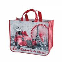 """French Shopping Bag Notre Dame, Eiffel Tower Traversee oilcloth 17""""x12""""x7"""""""