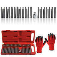 UK 40 Piece Hex Star Torx Spline Socket Bit Set Tool Kit Garage Tools Equipment