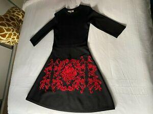 Hobbs London Ladies Dress Size 10 Black And Red