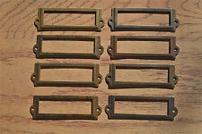 8 antiqued brass file cabinet label holder name plan chest map drawer LH1