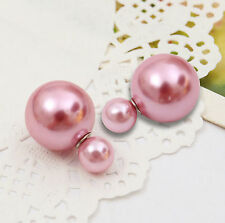 Ladies Fashion Jewelry Double Side Pearl (Imitation)  Stud Earrings Candy Color