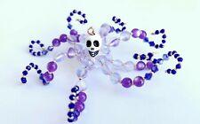 Beaded Purple Crystal White Skull Octopus-Ornament / Christmas Tree Decoration