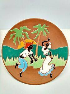Collector Hand Painted  Clay Plate Artist signed from Boutique Joana Brasil