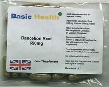 Dandelion 550mg x 60 Whole Root Capsules Water Retention Liver Detox Made in UK