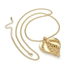 Gold and Crystal Heart Design Chain Necklace