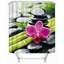 Orquídea Rosa en bambú en Zen guijarros Baño Cortina de ducha Ganchos de poliéster
