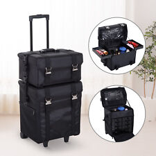 Make-up Travel Vanity Case Trolley Wheels Roll Cosmetic 2-in-1 Black