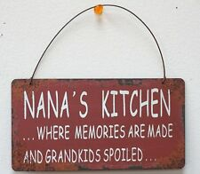 Rustic Red Nana's Kitchen Metal Antique Wisdom Hanging Sign Wall Décor