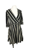 H&M Black & White Striped Wrap Dress Small Size 8 Knee Length 3/4 Sleeves