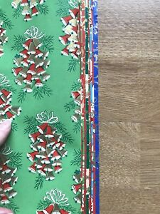 Vintage Lot Two Rolls Christmas Wrapping Paper 19 Sheets