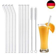 RESTE: 10x Glas Trinkhalm Stroh Halm Getränke Coktail Drink Waschbar + 4x Bürste