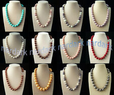 Rare Huge 12mm Genuine Mix Color South Sea Shell Pearl Round Beads Necklace 18''