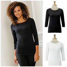 Cotton Blend Crew Neck Patternless Other Women's Tops