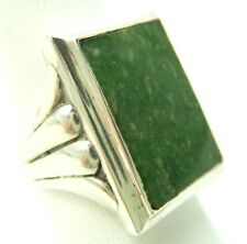 VINTAGE STERLING SILVER JADE MENS  RING  SIZE 10