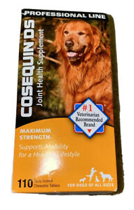 COSEQUIN DS MAX STRENGTH JOINT HEALTH SUPPLEMENT ALL DOGS 110 TABLETS Exp 2022