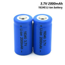 16340 Battery 3.7V 2000mAh Li-ion Rechargeable Cell For Flashlight Torch 2Pcs 6