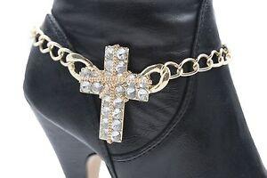 Women Metal Chain Boot Bracelet Western Shoe Charm Gold Silver Rhinestones Wave