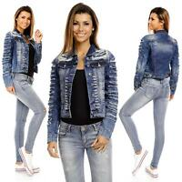 Sexy Womens Ripped Jeans Cropped Dark Washed Blue Jacket Denim Size 6 8 10