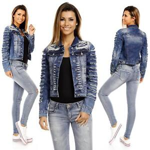 Sexy Womens Ripped Jeans Cropped Dark Washed Blue Jacket Denim Size 6 8