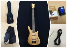 Haze 3213n 4-string Electric Bass Guitar Pre-amp Natural Matt W/ Gig Bag