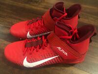 Nike Alpha Menace Pro 2 Football Lacrosse Cleat Black Size 10 Red White