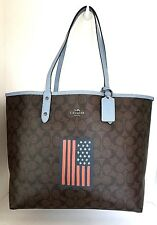 COACH SIGNATURE REVERSIBLE CITY TOTE BROWN / BLUE WITH US FLAG & WRISTLET NWT
