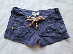 XOXO Jeans Shorts Juniors Womens 1/2 Navy Blue Tie Waist Linen Pockets Pleated