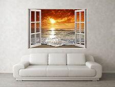 SUNSET TIDE scena 3D Full Colour Window Home Wall art Adesivi Murale Decalcomania