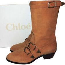 $1595 CHLOE Susanna Buckle Strap Mid Calf Boots Tan Suede Low Heel Booties 39
