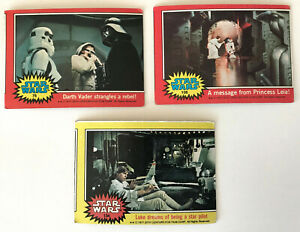Lot / 3 Vintage 1977 Topps STAR WARS 2nd & 3rd Series Trading Cards MISCUT ERROR