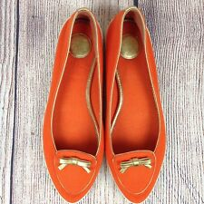 Tory Burch Orange Dakota Women's Canvas Flats Size 7 Gold Bow Loafers Shoes